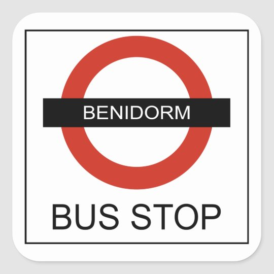 Pegatina Cuadrada Benidorm Bus Stop