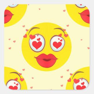 Pegatina Cuadrada Beso Emoji de la tarjeta del día de San Valentín