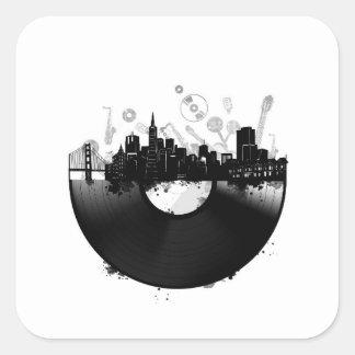 Pegatina Cuadrada blanco del vinilo del horizonte de la ciudad de
