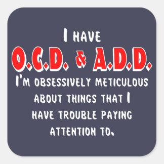 Pegatina Cuadrada Blanco/rojo de OCD-ADD