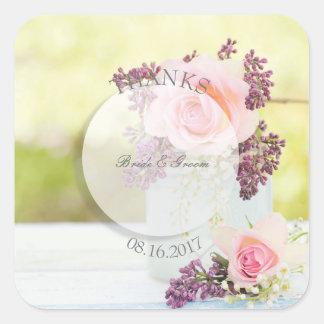Pegatina Cuadrada Boda del vintage de las lilas y de los rosas