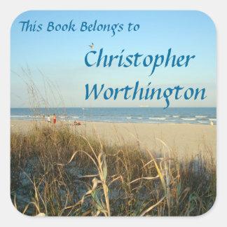 Pegatina Cuadrada Bookplate de no. 3 de la escena de la playa de la