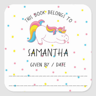 Pegatina Cuadrada Bookplate del unicornio, de la biblioteca de,