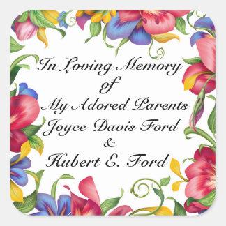 Pegatina Cuadrada Bookplate revisado, en Memoriam, donación
