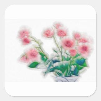 Pegatina Cuadrada Bosquejo del ramo color de rosa