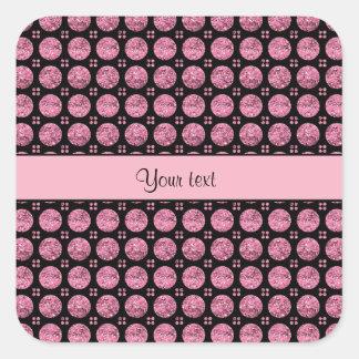 Pegatina Cuadrada Botones rosados brillantes glamorosos del brillo
