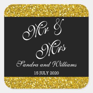 Pegatina Cuadrada Brillo con clase y Sr. y señora negros Wedding del