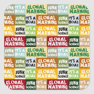 Pegatina Cuadrada Broma del calentamiento del planeta