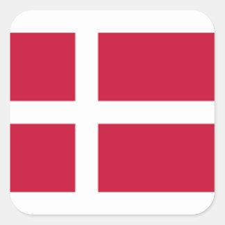 Pegatina Cuadrada Buena impresión de la bandera de Dinamarca del