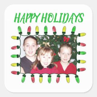 Pegatina Cuadrada Buenas fiestas añada sus luces de navidad de la