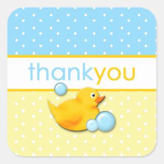 Pegatina Cuadrada Burbujas Ducky - el azul le agradece los pegatinas