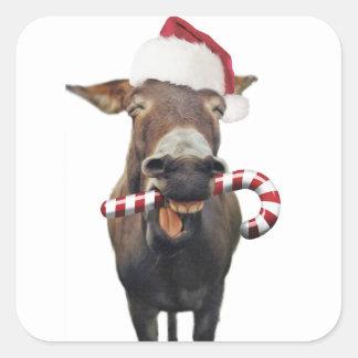Pegatina Cuadrada Burro del navidad - burro de santa - burro santa