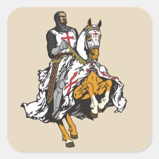 Pegatina Cuadrada Caballero de Templar