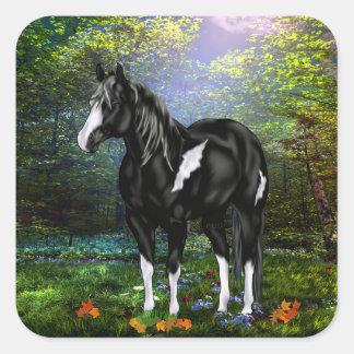 Pegatina Cuadrada Caballo blanco y negro de la pintura de Overo