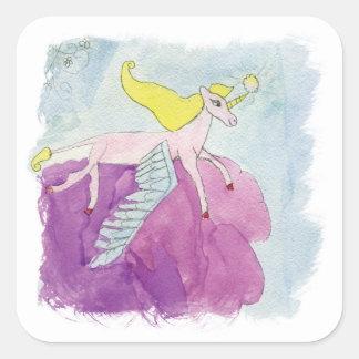 Pegatina Cuadrada Caballo con alas potro de Alicorn de la acuarela