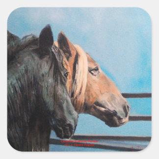 Pegatina Cuadrada Caballos/Cabalos/Horses