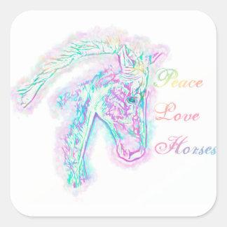 Pegatina Cuadrada Caballos del amor de la paz