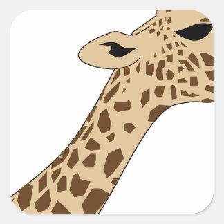Pegatina Cuadrada Cabeza de la jirafa