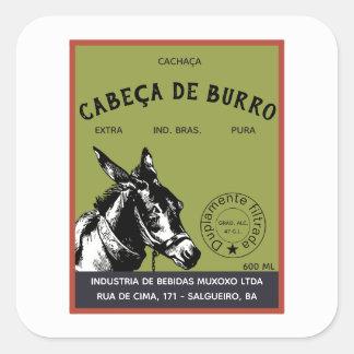 Pegatina Cuadrada Cabeza del burro de Cachaça