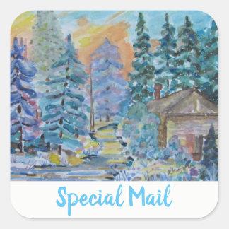 Pegatina Cuadrada Cabina especial del correo en la escena del