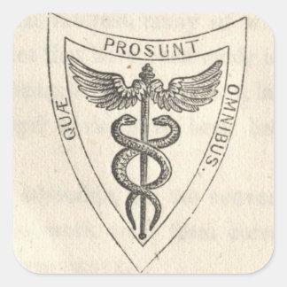 Pegatina Cuadrada Caduceo en escudo