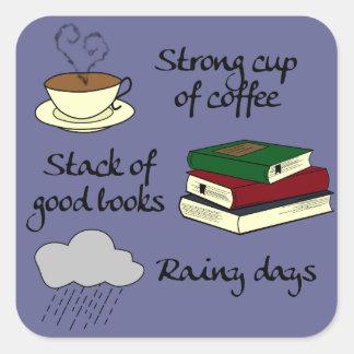 Pegatina Cuadrada Café, los libros y lluvia - cambie el color
