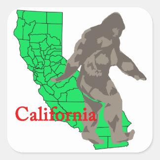 Pegatina Cuadrada California Bigfoot