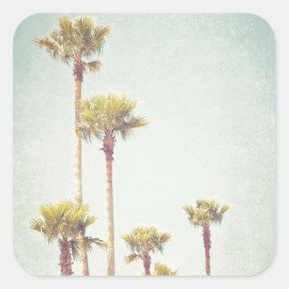 Pegatina Cuadrada California que soña fotografía retra de la palmera