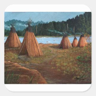 Pegatina Cuadrada Campamento de verano