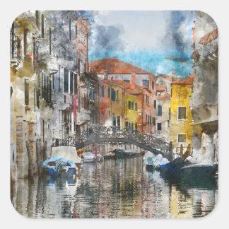 Pegatina Cuadrada Canales de la acuarela de Venecia Italia