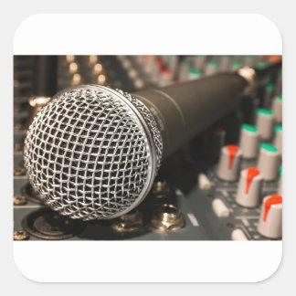 Pegatina Cuadrada Canto del cable de micrófono del cable del