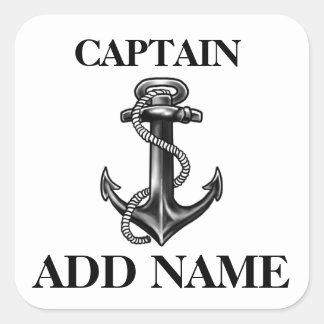 Pegatina Cuadrada Capitán personalizado Name Navy Anchor y cuerda
