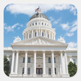 Pegatina Cuadrada Capitolio del estado de California en Sacramento