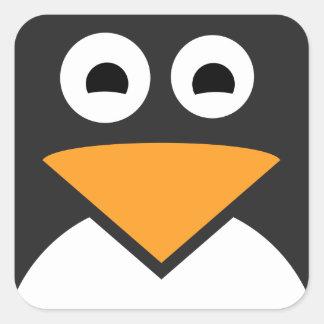 Pegatina Cuadrada Cara del pingüino
