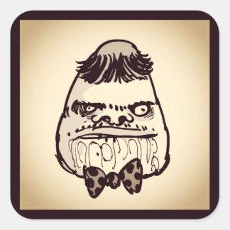 Pegatina Cuadrada cara estúpida del duende con el dibujo animado