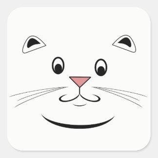 Pegatina Cuadrada Cara sonriente del gato del gatito