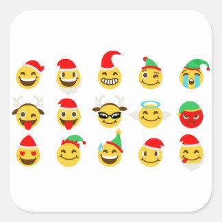 Pegatina Cuadrada caras felices del emoji de Navidad