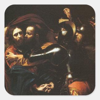 Pegatina Cuadrada Caravaggio - el tomar de Cristo - ilustraciones
