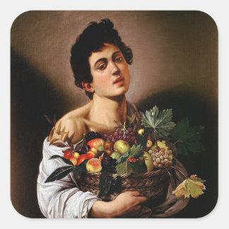 Pegatina Cuadrada Caravaggio - muchacho con una cesta de