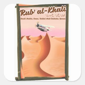 Pegatina Cuadrada Cartel de las vacaciones de Khali la Arabia