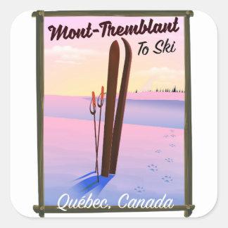 Pegatina Cuadrada Cartel del esquí de Mont-Tremblant Québec