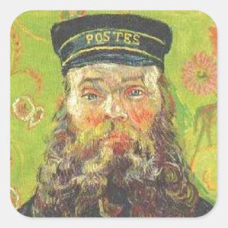 Pegatina Cuadrada Cartero José Roulin - Vincent van Gogh del retrato