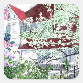 Pegatina Cuadrada Casa del Victorian de Eureka Springs