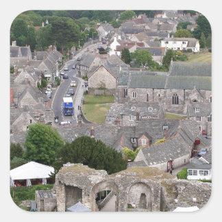 Pegatina Cuadrada Castillo de Corfe, Dorset, Inglaterra