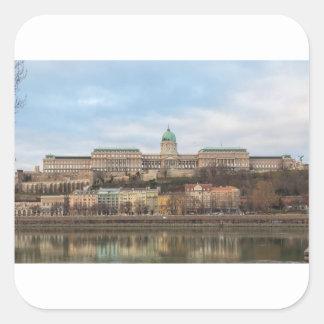 Pegatina Cuadrada Castillo Hungría Budapest de Buda en el día