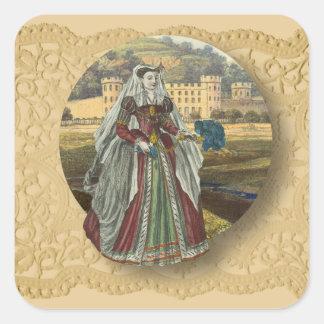 Pegatina Cuadrada Castillo y mujer medievales