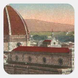 Pegatina Cuadrada Catedral retra de Florencia Italia Italia del arte