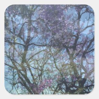Pegatina Cuadrada Cenador en la floración, pegatinas, 1 pulgada del