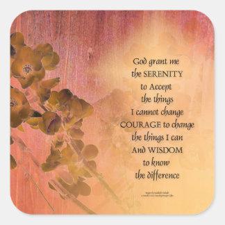 Pegatina Cuadrada Cerca una del membrillo del rezo de la serenidad