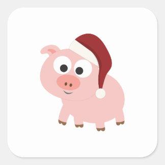 Pegatina Cuadrada Cerdo de Santa